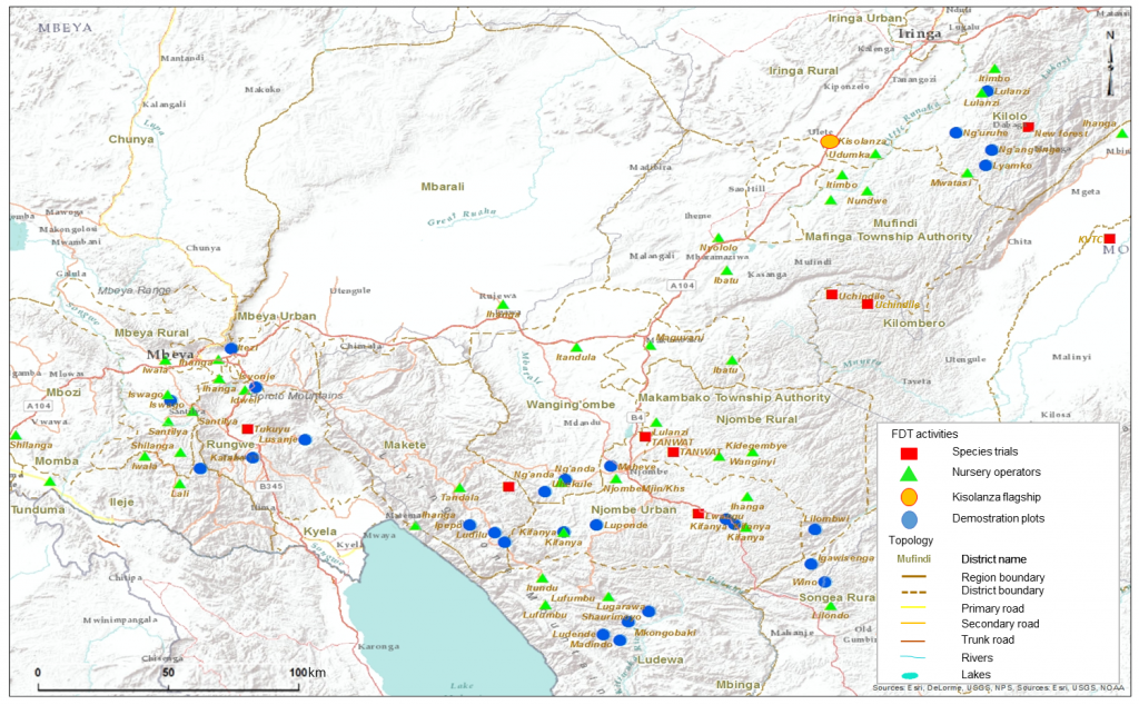 A map of FDT activities in the Southern Highlands